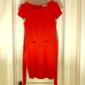 Closet London coral pleated dress, with pockets!